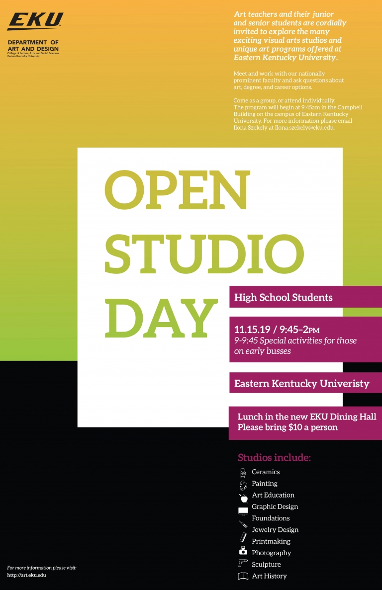 Advertisement for Open studio day