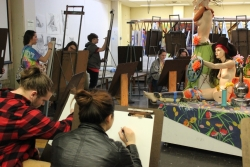 High school students drawing at Art & Design Open Studio Day